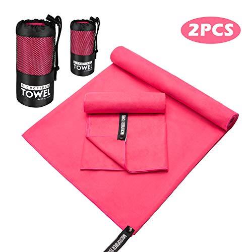 WATSABR Handtuch-Mikrofaser Handtücher, 2 Größen - kompakt, Ultra leicht & schnelltrocknend Handtücher,Perfekte Sporthandtuch, Strandhandtuch, Reisehandtuch und Badehandtücher(Pink)