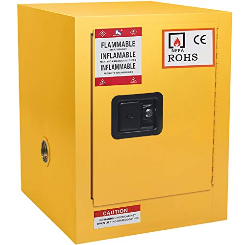 Flammable Cabinet Yellow Steel Safety Cabinet for Flammable Liquids 2 Gallon Adjustable Shelf Door Manual Close Flammable Storage Cabinet for Flammable Liquids 17 x 17 x 18 Inch (17 x 17 x 18 Inch)
