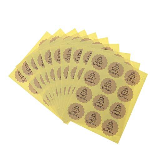 Yuanshenortey 120 piezas feliz cumpleaños etiqueta sellado pegatina artesanía envoltura regalo hecho a mano bricolaje
