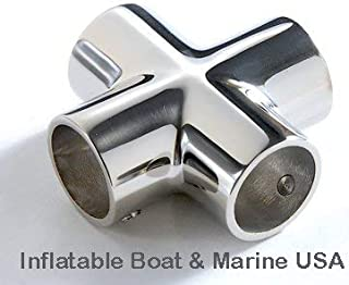 Boat Hand Rail Fitting 4 Way Cross Tube Pipe Connector Tee Joint 1