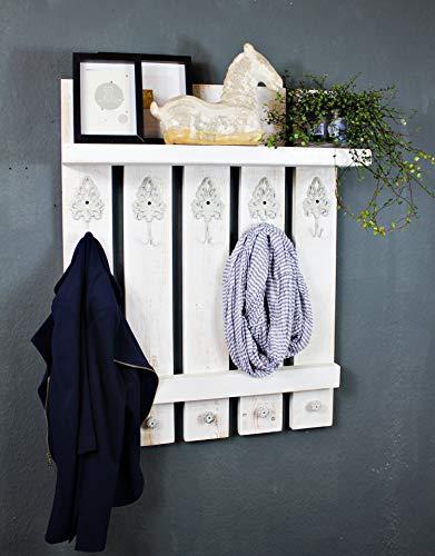 decoratieve houten kapstok wit in landelijke stijl vintage shabby gemonteerd