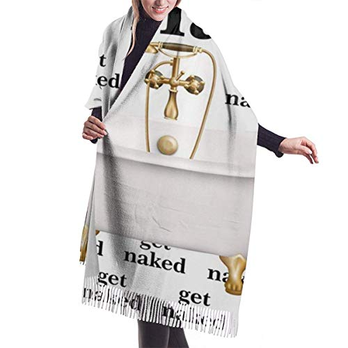 Cantik Holen Sie sich nackte Zitat Worte mit Badewanne Kaschmir Schal für Frauen Männer Leichte weiche Winterschals Fransen Schal Wraps