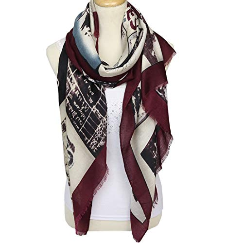 Xzwzhqxs Primavera de la Moda de Las Mujeres y el Verano Cartas Caliente Suave de la Bufanda del mantón del algodón (Color : Vino Rojo, Size : 180X90cm)