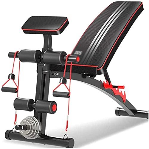 Banco de pesas plegable, silla de ejercicios para músculos abdominales, banco multifunción con mancuernas para levantamiento de pesas para el hogar, equipo de ejercicios con tabla en decúbito supino p ⭐
