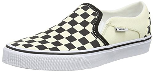 Vans Damen Asher Slip On Sneaker, Weiß (Checkerboard/Black/White), 40.5 EU