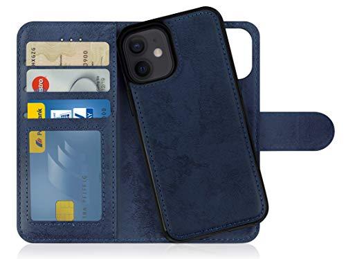 MyGadget Funda Flip Case con Tapa Tarjetera para Apple iPhone 12 Mini en Cuero PU - Carcasa Cerrada con 9 Bolsillos - Cubierta Magnética Separable - Azul Oscuro