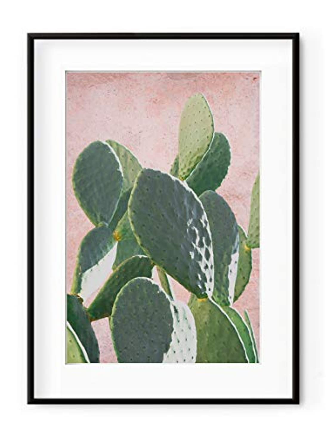 Plant on Pink Barbarian Figurine, White Painted Wood Frame with Mount, Multicolored, 50x70
