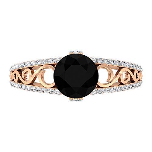 Anillo solitario de 2 CT con diamante negro creado en laboratorio y detalles de moissanita, anillo de filigrana de oro (7 mm de forma redonda, 14K Oro rosa, Size:EU 49