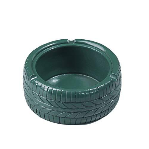 didi Cenicero creativo en forma de neumático, cenicero retro para consumidor/comercial, cenicero de mesa, cenicero de resina, decoración creativa para encimera, 5 colores de regalo (color verde)