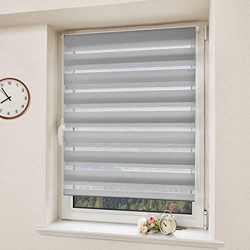 Doppelrollo ohne Bohren Duo Rollo Klemmfix Grau 100x150cm(BxH) Raffrollo mit der Klemmträger Rollos für Fenster und Tür Seitenzugrollo Fensterrollo Sonnenschutz Lichtdurchlässig