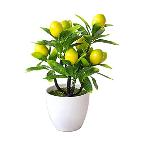 Wnvivi Artificial Lemon Tree Topiary, Green Plant Potted Fake Flower Plastic Bonsai Lemon Tree Bonsai Artificial Plants in Pots for Office Table Bathroom Shop Party