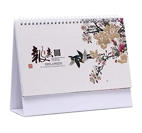 Scenery Calendar Flower Style Bloc de notas/Calendario, 2018-2019 Desk Calendar, C04
