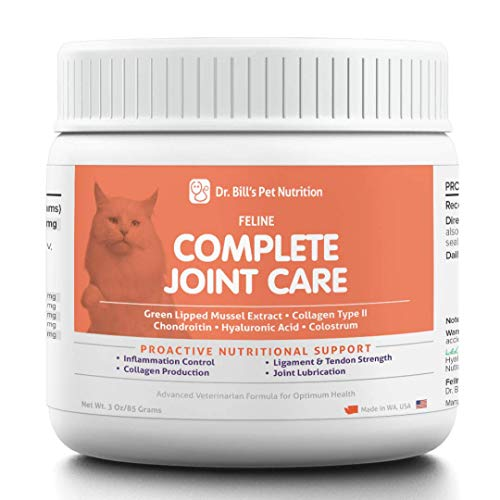 Dr. Bill's Feline Complete Joint Care | Pet Supplement | Advanced Hip & Joint Supplement for Cats | Contains Green Lipped Mussel Extract, Collagen Type II, Chondroitin, Hyaluronic Acid, and Colostrum