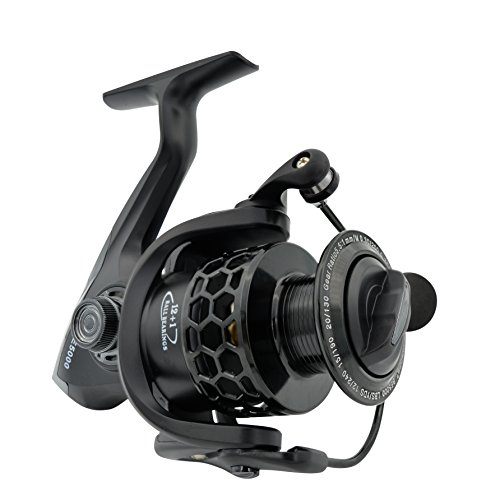 Fishdrops Spinning Fishing Reels 12+1BB Ultra Lightweight Carved Aluminum Spool Reels Affordable Smooth Spinning Reel