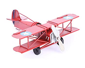Berry President Vintage Retro Wrought Metal Iron Biplane Plane Aircraft Handicraft Models - Photo Props Home Decor/Ornament/Souvenir  Red