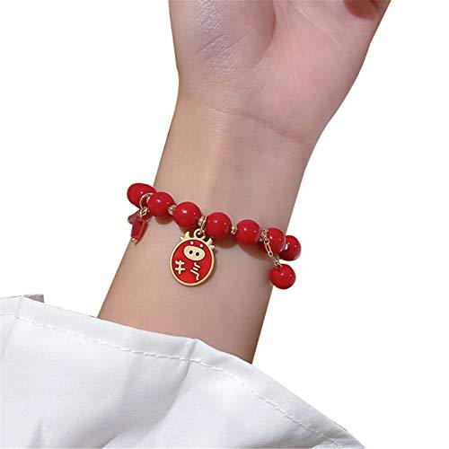 Pulsera de cristal del año del buey del zodiaco chino con accesorios de revestimiento rojo para el año de nacimiento