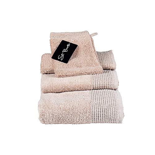 St. Barth Ripsborde Duschtuch, 100prozent Baumwolle, 380 g/m², 70 x 140 cm, Micro-Cotton, Taupe (4 Stück)