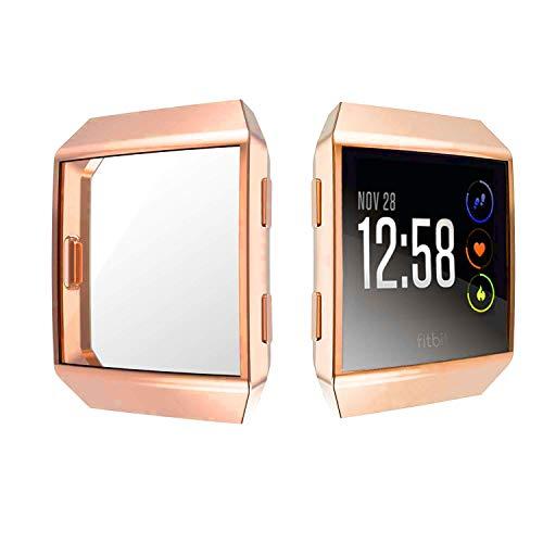 Jvchengxi für Fitbit Ionic Bildschirmschutz Hülle, TPU Schutzfolie Allro&-Schutzhülle High Definition Clear Superdünne Schutzhülle für Fitbit Ionic Smart Fitness Watch (Roségold)
