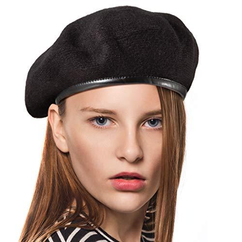 LADYBRO Men Beret Fall Military Hat - Cool Black Beret Hat for Women Hat with Pu Trim