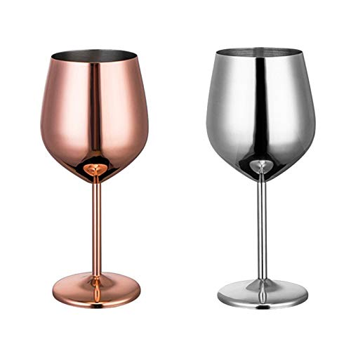 Dciustfhe 2 copas de vino tinto de acero inoxidable 304, irrompibles, copas de vino, champán, vasos de whisky, vasos para zumo, champán, fiesta, bar, cocina (plata y oro rosa)