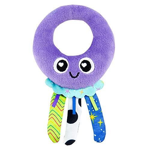 Lamaze Babyspielzeug Elli Quallenrassel Mehrfarbig, Kleinkindspielzeug, Vereint Rassel und Motorikspielzeug, Fördert Tastsinn, Sensorik und Hörvermögen Ihres Kindes, Beißring, Ab 0 Monaten