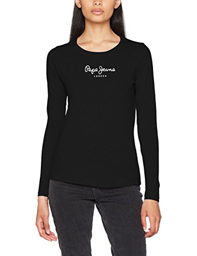 Pepe Jeans New Virginia Ls, Camiseta Para Mujer, Negro (