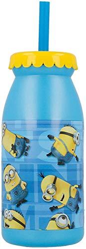 MINIONS 2086, Wasserflasche mit Strohhalm; Fassungsvermögen 300 ml.