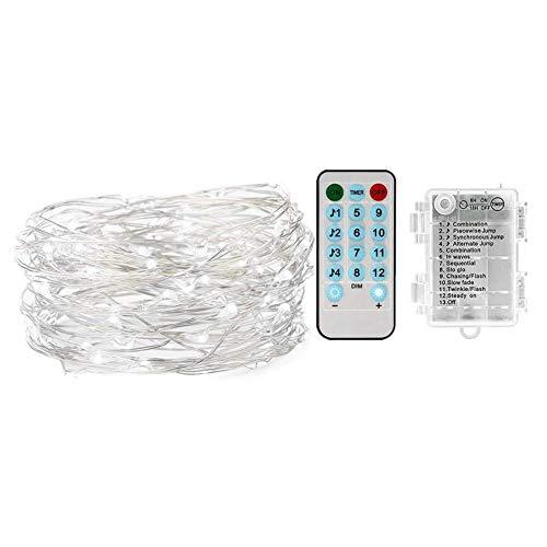 Ufolet Cadena de luz de batería, Cadena de luz de 10 m, para Fiesta de cumpleaños de Boda de cumpleaños(Colorful)