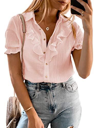 CORAFRITZ Camisas de verano para mujer elegante camisa de manga corta botón blusa botón abajo solapa camisa negocios trabajo