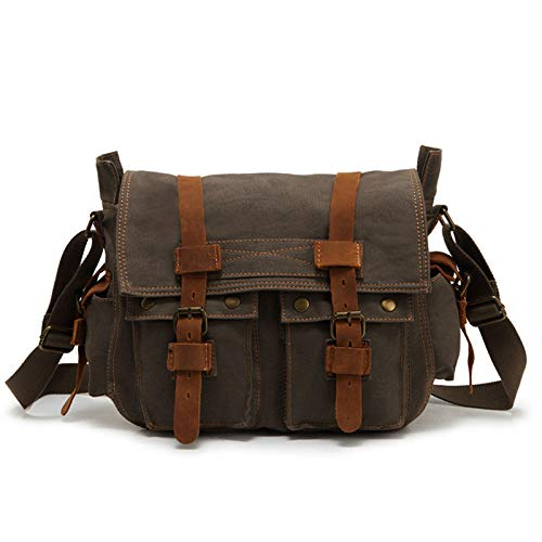 CMZ Backpack Men's Canvas Shoulder Bag Solid Color Simple Outdoor Bag Messenger Bag Men's Casual Bag 14 Inch Men's Bag