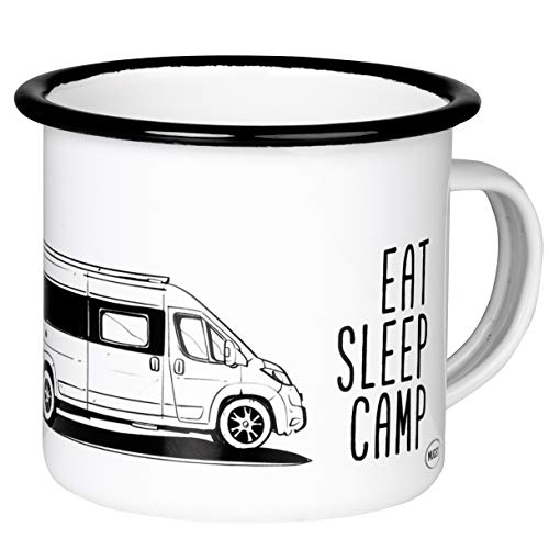 EAT Sleep Camp - Explore Drive Repeat - Retro Emaille Becher mit Kastenwagen Wohnmobil - Camper - leicht und robust - für Camping, Vanlife - von MUGSY.de