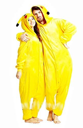 KIRALOVE Disfraz de Pikachu Mujer - Hombre - Pijama - Disfraz - Carnaval - Halloween - Pokemon - Color Amarillo - Adultos - Unisex - nios - Talla XL Pokemon Pikachu
