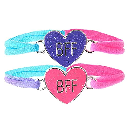 FENGHE Bff - Pulsera para 2 unidades, diseño de rompecabezas, diseño de corazón con texto en inglés 'Best Friends Forever'