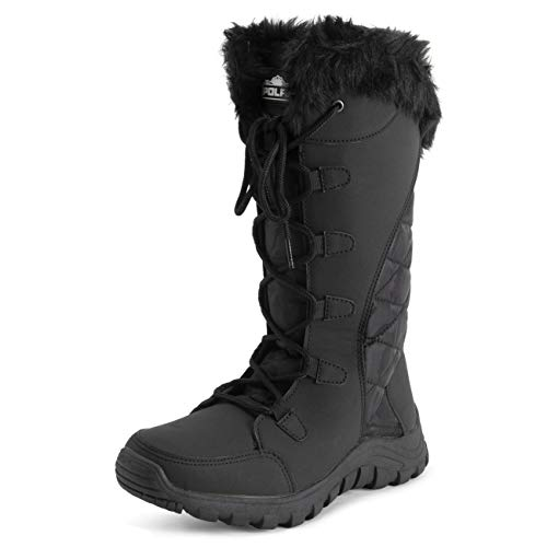 Polar Womens Quilted Faux Fur Cuff Winter Duck Rubber Sole Durable Snow Rain Outdoor Boots - Black...