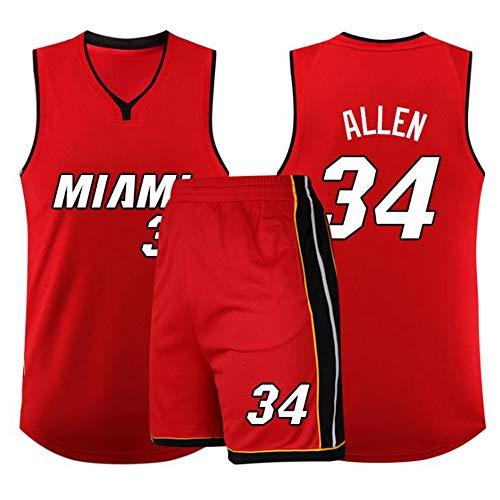 LLZYL Pallacanestro Jersey - NBA Ray Allen # 34 Adulti Suit Boston Celtics per Bambini Jersey, Tessuto Traspirante Swingman, Pallacanestro Top E Shorts,B,3XS:121~135cm