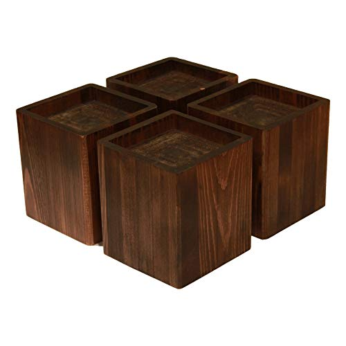 Almanor Goods Bed Risers Furniture Lifters Wood (Set of 4), Handmade Rustic Pine (Dark)