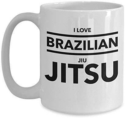 Not Applicable Brasilianische Jiu Jitsu Tasse für BJJ Kämpfer, Wrestler und Grappler Ich Liebe brasilianische Jiu Jitsu Lustiger Humor Weiß für Kaffee Tee Kakao Tasse Tasse 11OZ