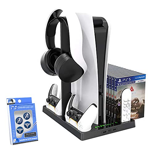 Multifunctional cooling base is suitable for PS5 console, TwiHill, PS5 console cooling disc storage rack PS5 earphone storage bracket handle storage Acessórios PS5, Envio DDP.