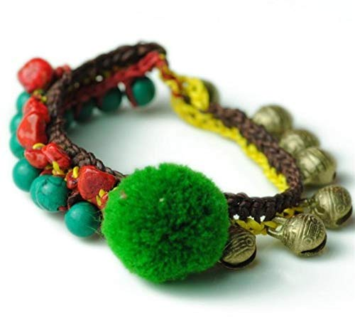 Shability Cute Green Fuzzy Ball Natural Stone Beads Candy Colored Stone Retro Brass Bells Multi-element Hand-braided Anklet Ethnic Jewelry yangain