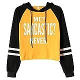 Cute Cropped Hoodie for Teen Girls Fall Pullover 2 Tone Crop Top Hoodie Sweatshirt Yellow XS