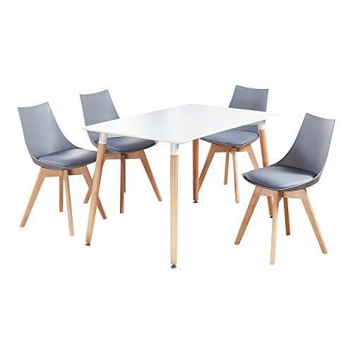 P&N Homewares Vallées de Ensemble de Salle à Manger, Gris, Table Dimensions: H75 x D120 x W80 cm
