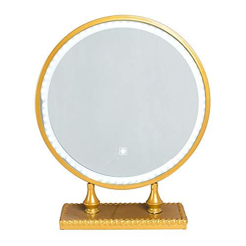 Miroir de Maquillage LED Miroir LED Interrupteur Tactile Intelligent Éclairage LED 19 Pouces, 16 Pouces, Petit Miroir de Maquillage de comptoir doré
