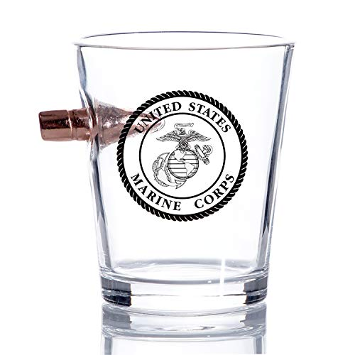 USMC Real Solid Projectile 308 Marine Corps Bullet Shot Glass – Hand Blown Glasses – Gift for Marines
