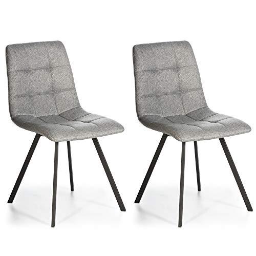 VS Venta-stock Set de 2 sillas Comedor Mila tapizadas Gris Claro, certificada por la SGS, 58 cm (Anc