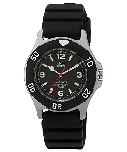 [シチズン Q&Q] 腕時計 アナログ ソーラー 防水 ウレタンベルト 黒 文字盤 SOLARMATE (ソーラーメイト) H950J002 メンズ ブラック