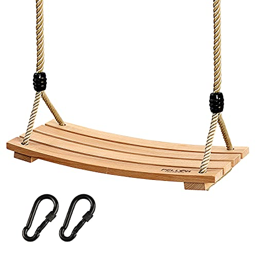 PELLOR Holz Schaukelsitz, Erwachsene Kinder Garten Schaukel für Innen und Außenbereich mit Einstellbares Seil bis 100 kg