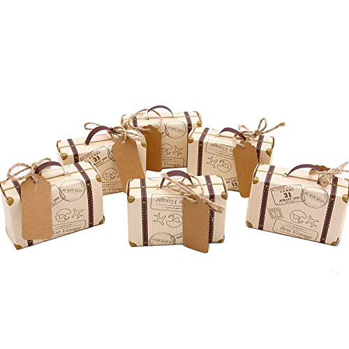 50pcs Mini Suitcase Favor Box Party Favor Candy Box, Vintage Kraft Paper with Tags and Burlap Twine for Wedding/Travel Themed Party/Bridal Shower Christmas Decoration