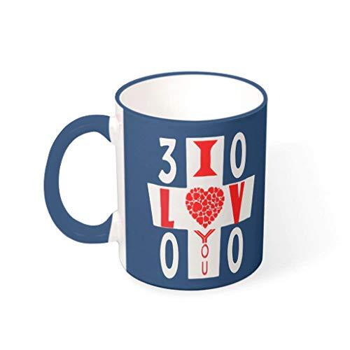 COMBON Shop Office I Love You 3000 tazas de porcelana con asa – Regalo de San Valentín Hanukkah azul medianoche 330 ml