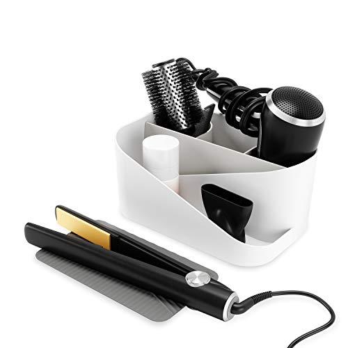 Umbra Glam Organizer für Haarstyling-Produkte, Aufbewahrung für Fön, Glätteeisen und Lockenstab mit herausnehmbarer Silikonmatte, Weiss/Grau, Einheitsgröße