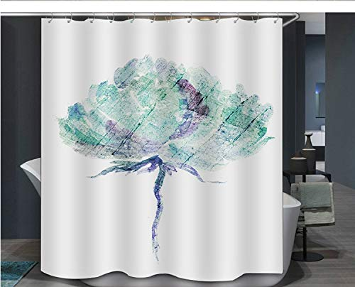 XCBN Multi-Size Bunte Blume Badezimmer Duschvorhang wasserdicht Schnelltrocknungsdruck Duschvorhang mit 12 Stück Haken A4 150x180cm